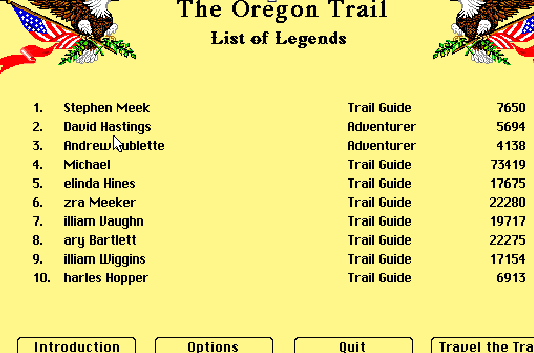MyCall: The Oregon Trail Deluxe (PC Emulated / DOSBox) 73,419 points on 2019-12-19 10:09:18