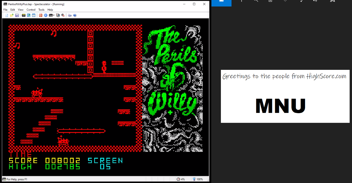 hughes10: The Perils of Willy [ZX Mode] (ZX Spectrum Emulated) 8,002 points on 2020-05-02 19:07:00