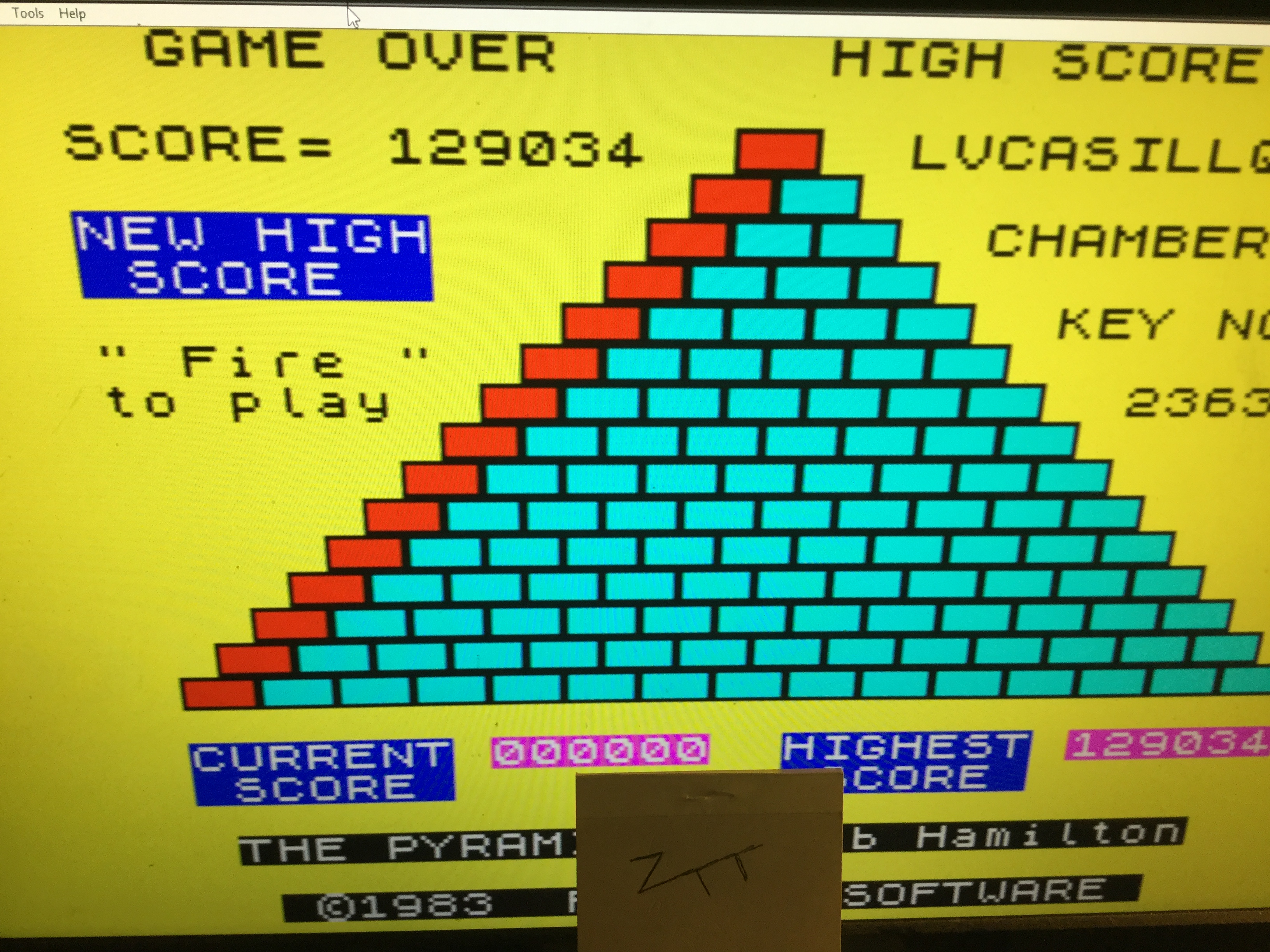 Frankie: The Pyramid (ZX Spectrum Emulated) 129,034 points on 2019-03-22 16:12:55