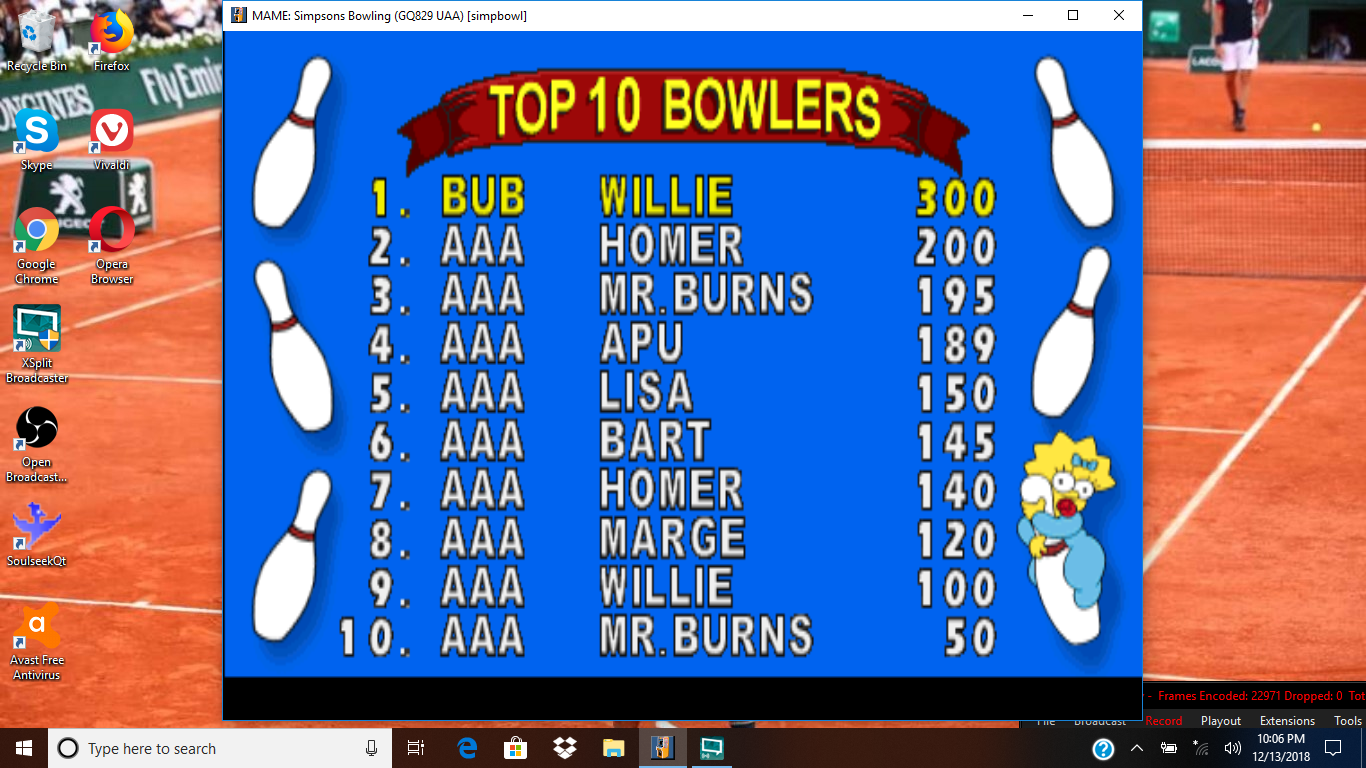 bubufubu: The Simpsons Bowling [Standard Bowling] [simpbowl] (Arcade Emulated / M.A.M.E.) 300 points on 2018-12-15 14:36:16