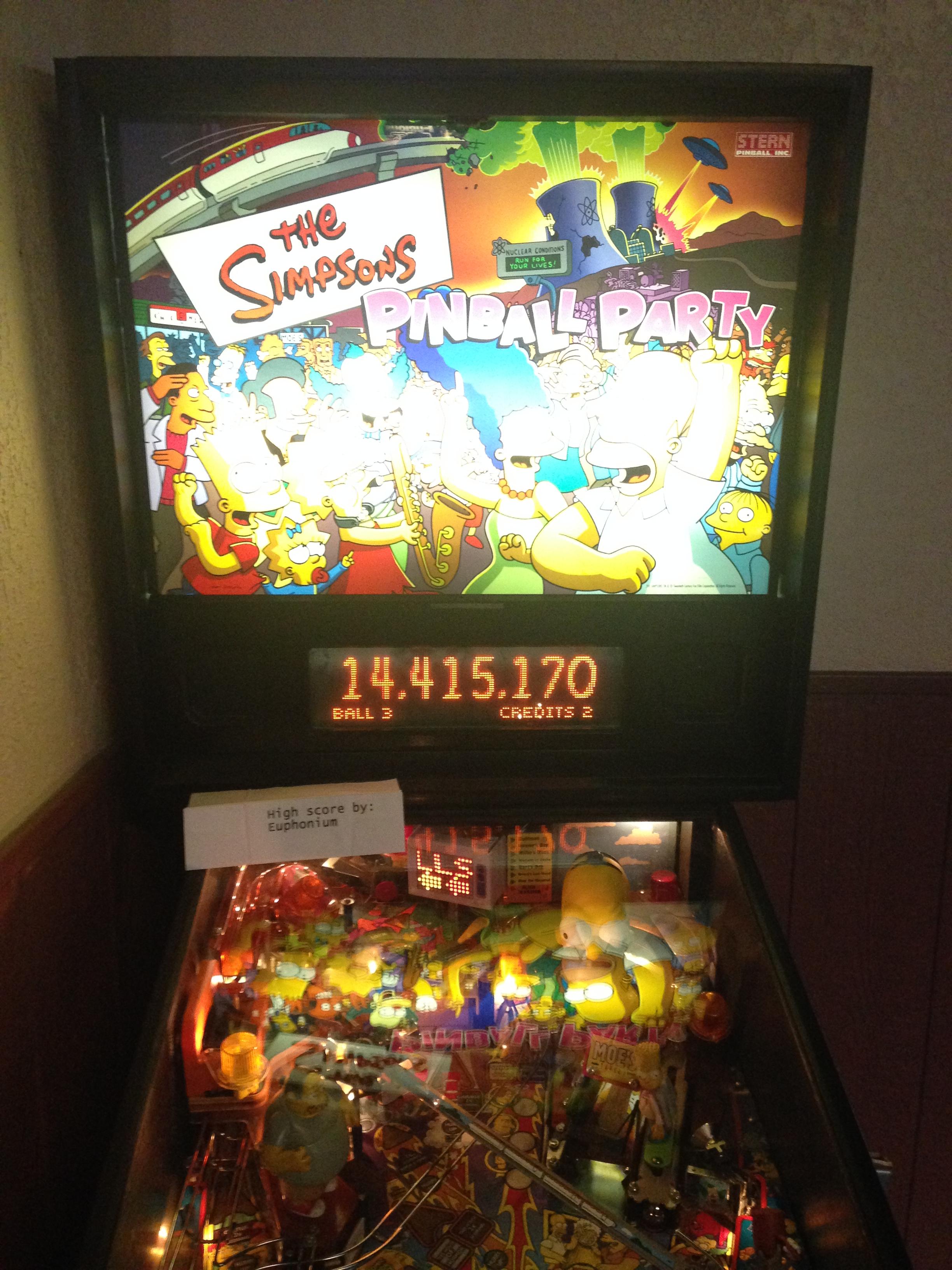 euphonium: The Simpsons Pinball Party (Pinball: 3 Balls) 14,415,170 points on 2016-09-22 17:35:28