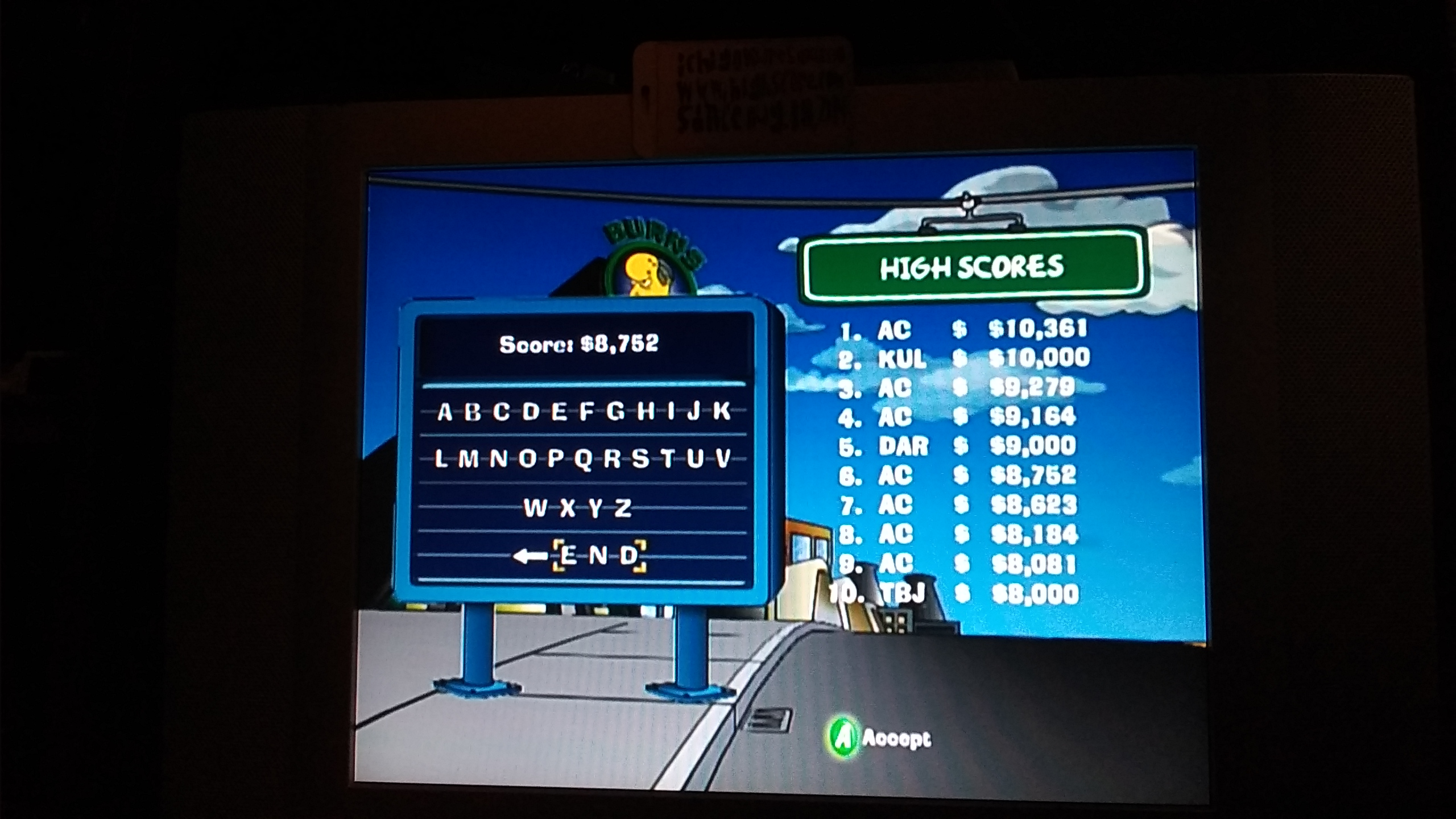 The Simpsons Road Rage: Entertainment District [Normal] 8,752 points