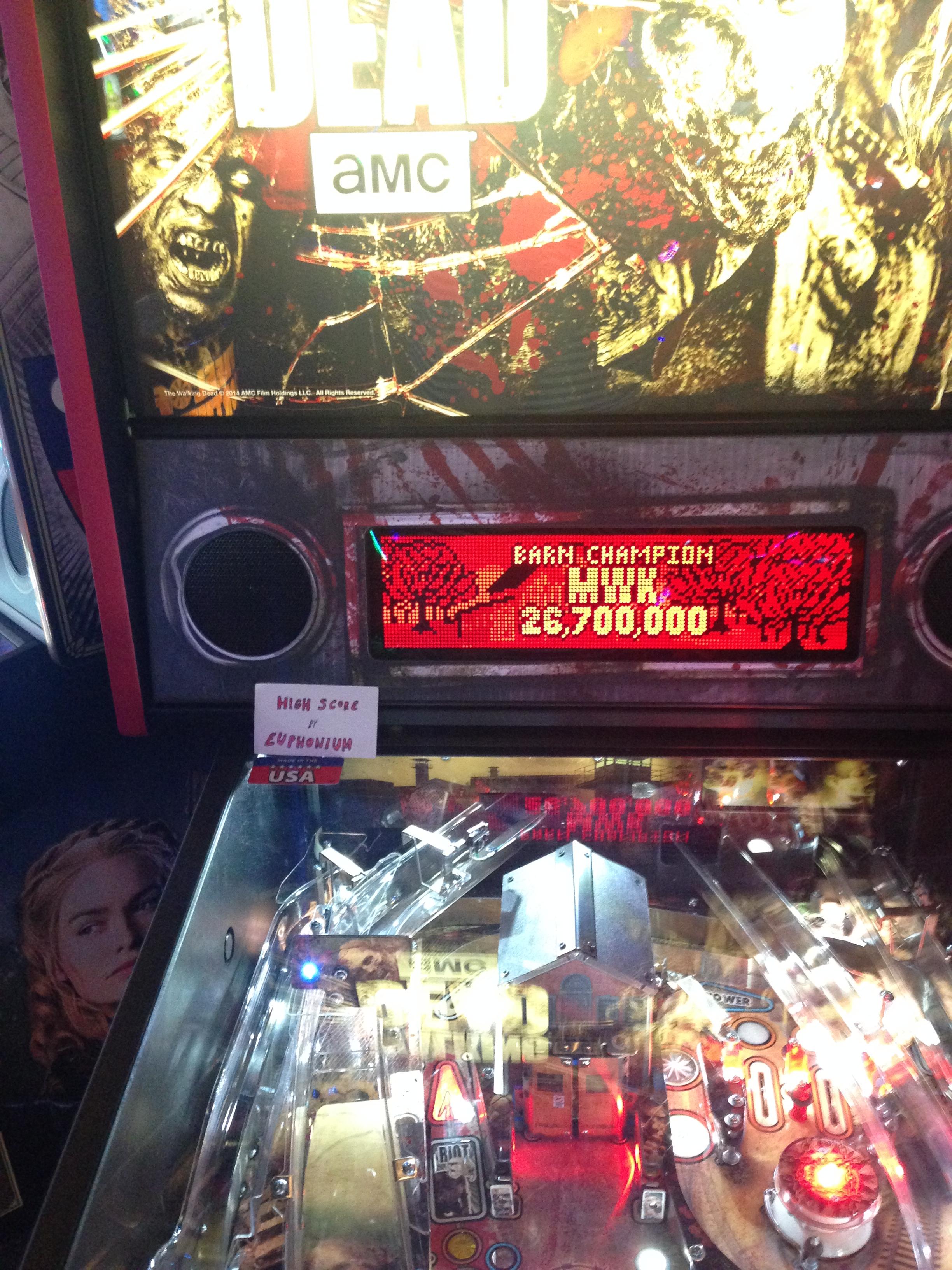 euphonium: The Walking Dead: Barn Champion (Pinball Bonus Mode) 26,700,000 points on 2017-03-04 08:36:19