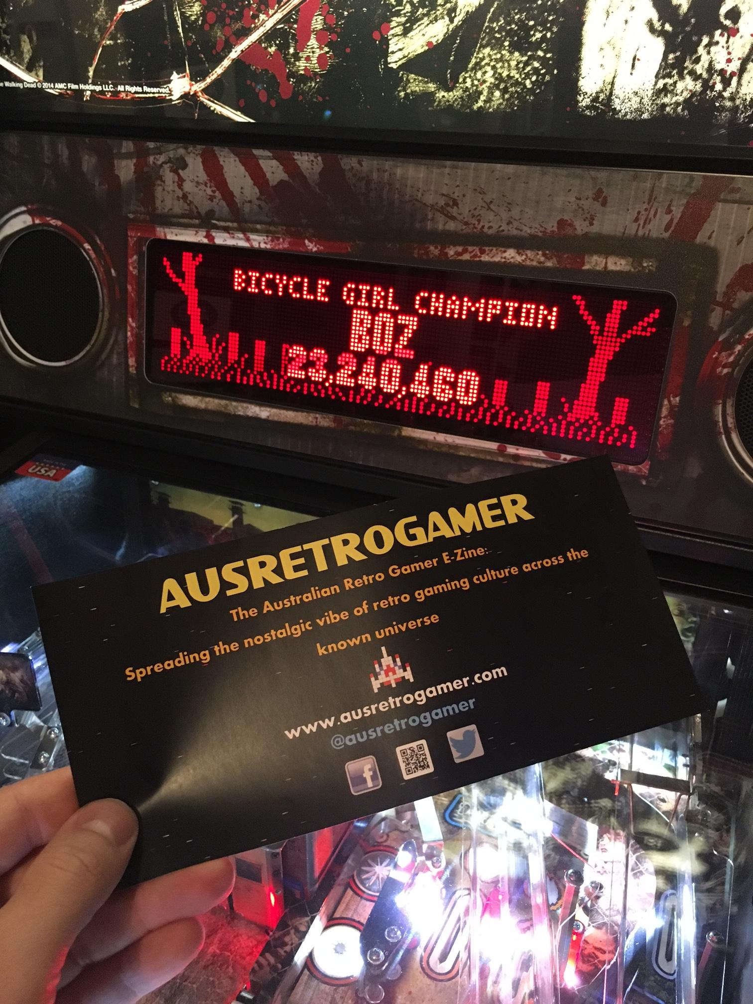 ausretrogamer: The Walking Dead: Bicycle Girl Champion (Pinball Bonus Mode) 23,240,460 points on 2017-04-23 21:30:59