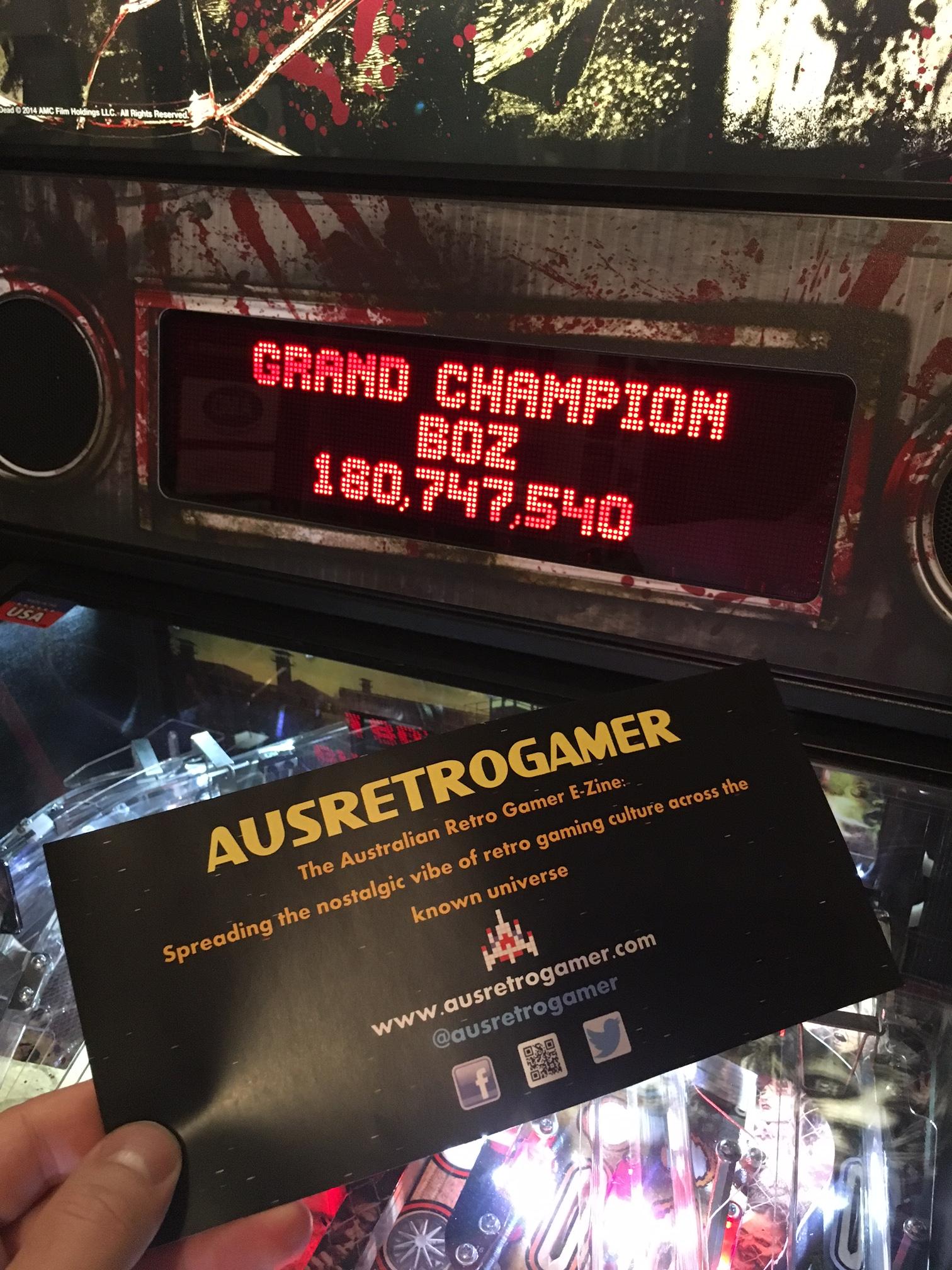 ausretrogamer: The Walking Dead (Pinball: 3 Balls) 180,747,540 points on 2017-04-23 22:18:48
