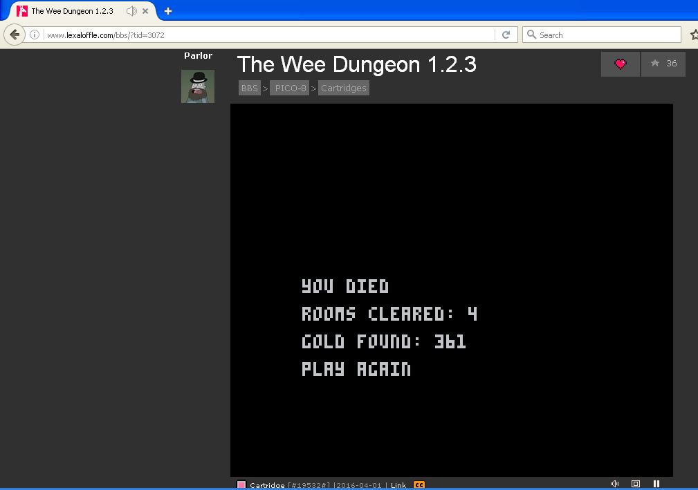 The Wee Dungeon [Rooms Cleared] [Pico-8] 4 points