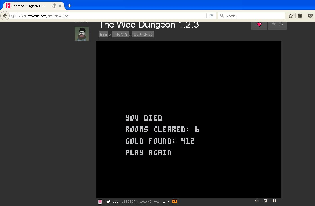 DarrylB: The Wee Dungeon [Rooms Cleared] [Pico-8] (Web) 6 points on 2016-07-18 13:13:38