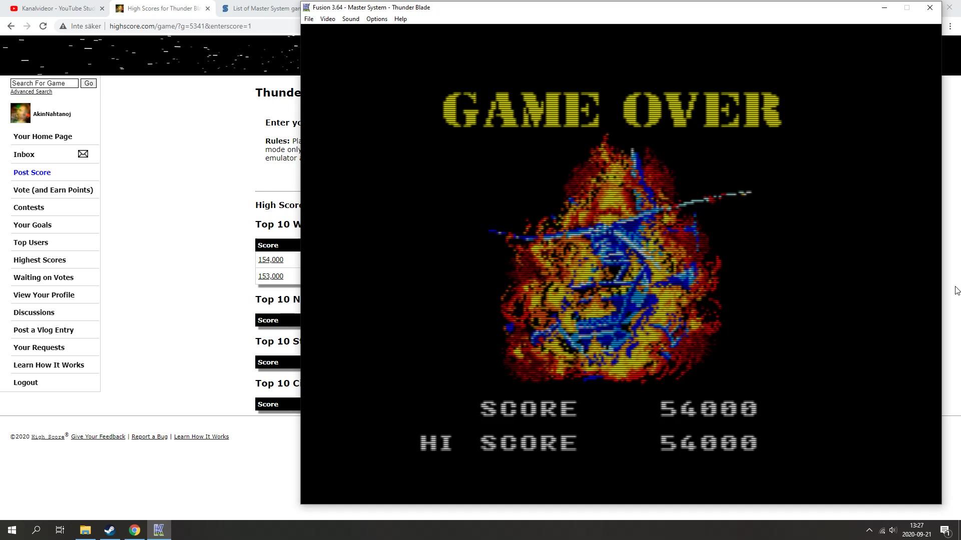 AkinNahtanoj: Thunder Blade (Sega Master System Emulated) 54,000 points on 2020-09-21 12:21:02