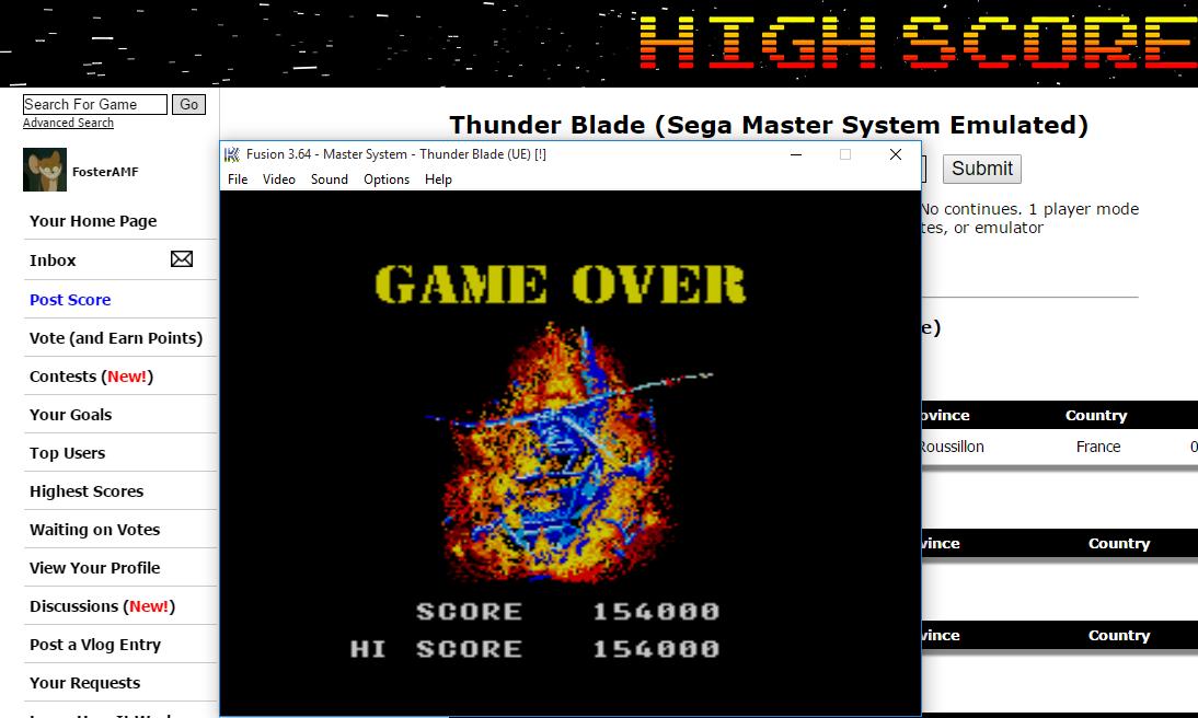 FosterAMF: Thunder Blade (Sega Master System Emulated) 154,000 points on 2016-01-25 01:42:12