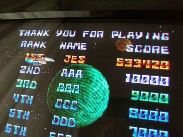JES: Thunder Cross [Japan] (Arcade Emulated / M.A.M.E.) 533,420 points on 2019-01-28 00:31:02