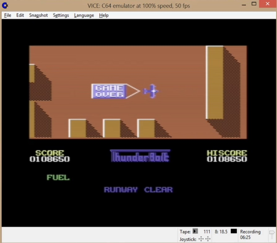 LuigiRuffolo: Thunderbolt [Codemasters] (Commodore 64 Emulated) 108,650 points on 2020-06-07 15:35:08