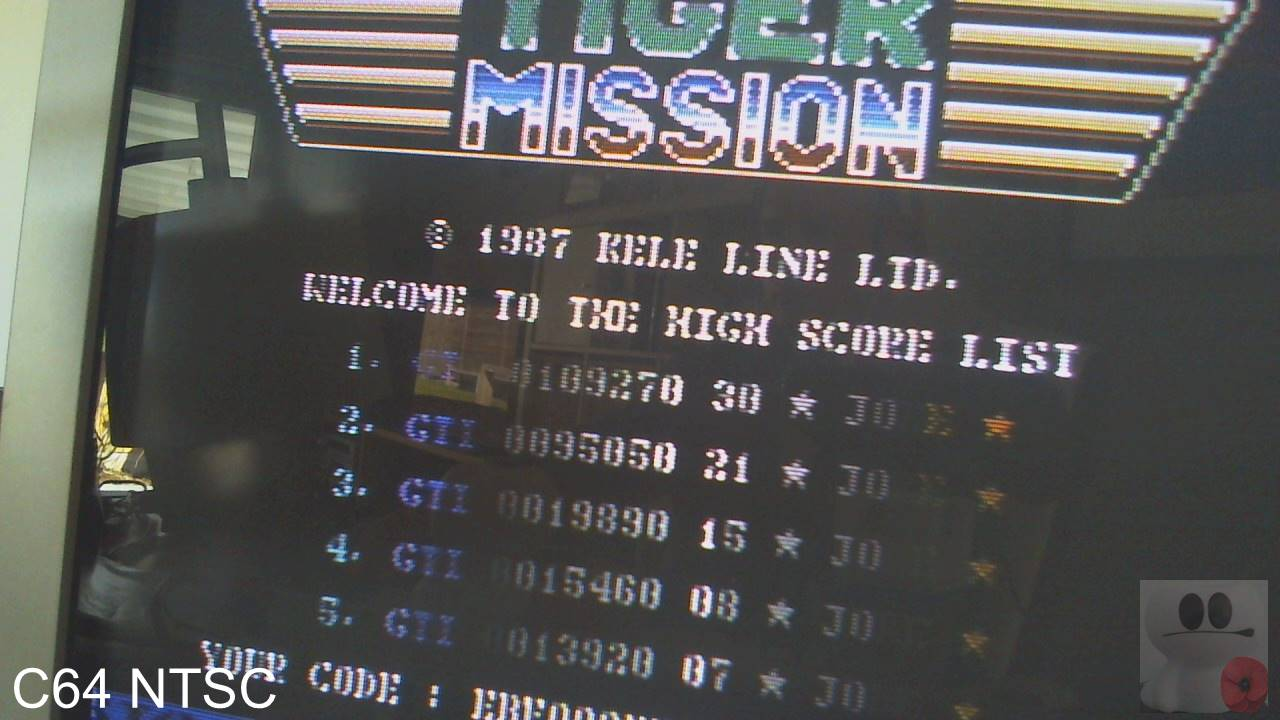GTibel: Tiger Mission (Commodore 64) 109,270 points on 2020-04-01 07:14:20