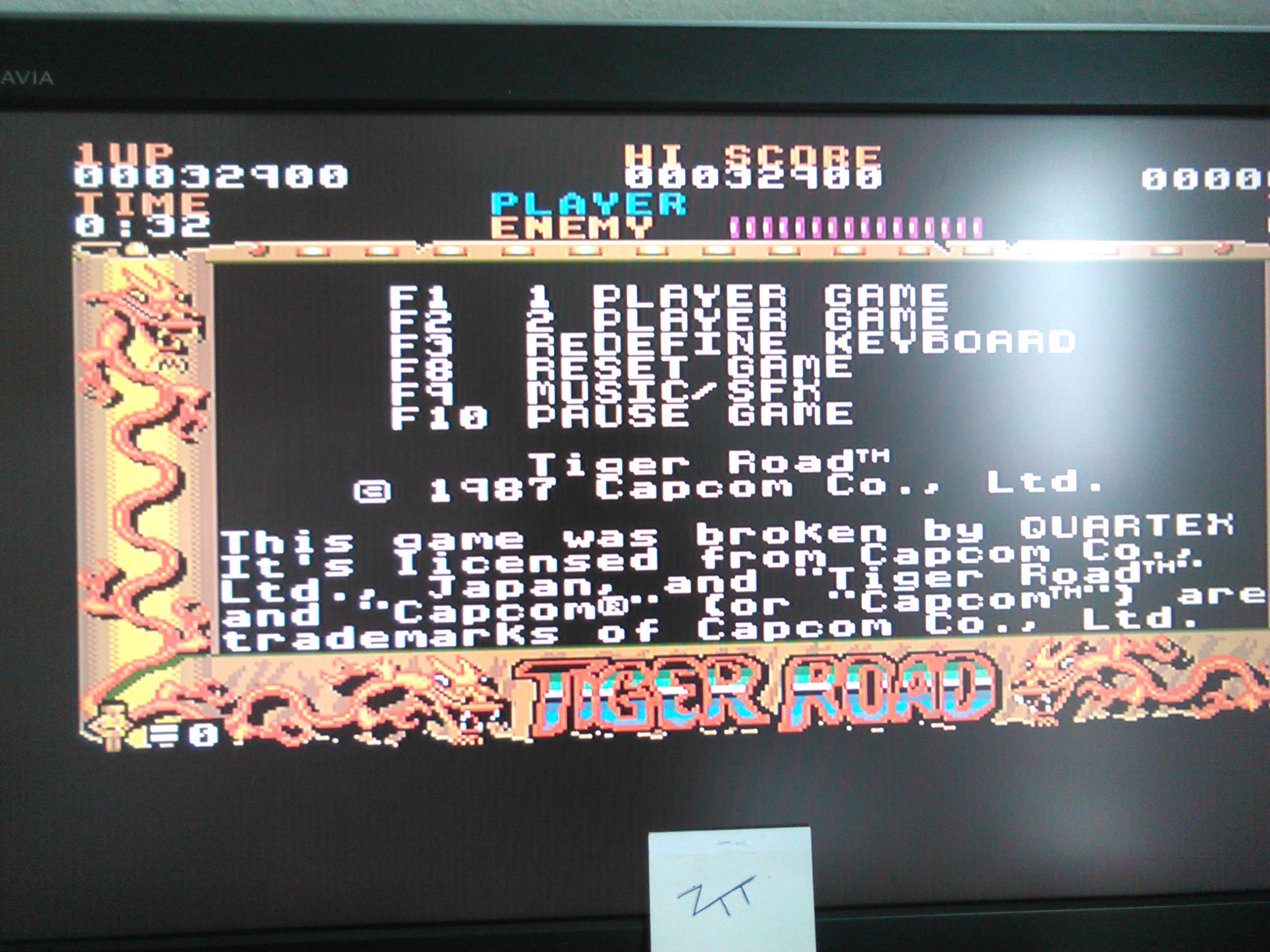 Frankie: Tiger Road (Amiga) 32,900 points on 2016-11-13 05:42:19