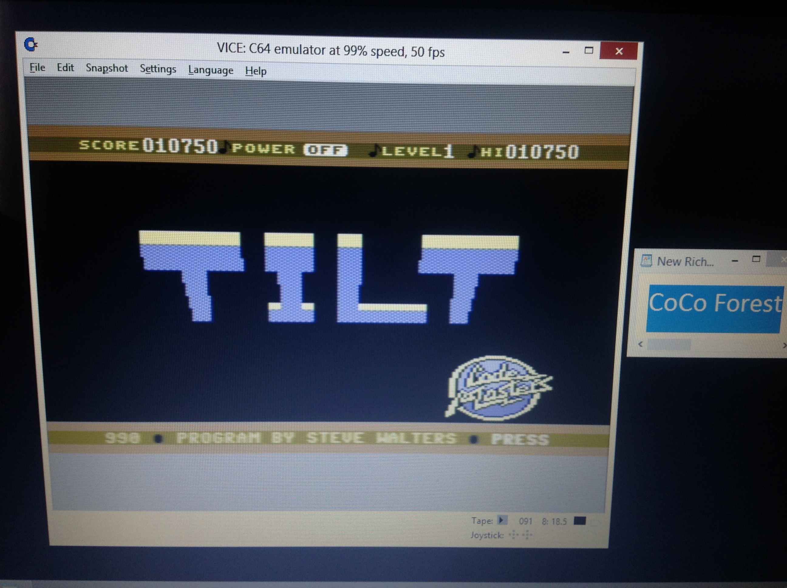 CoCoForest: Tilt (Commodore 64 Emulated) 10,750 points on 2018-10-04 04:59:39