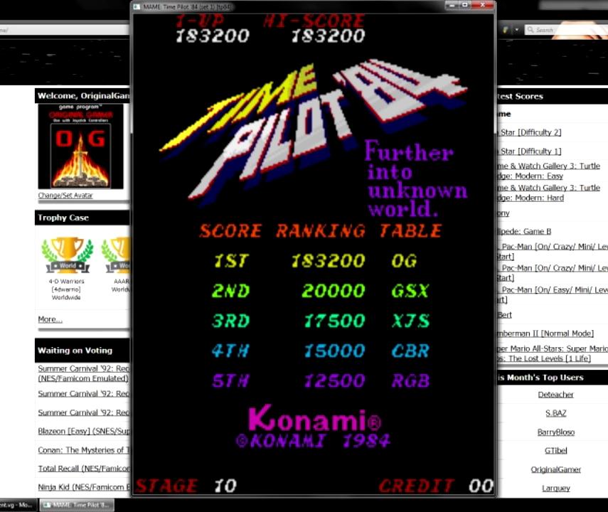 OriginalGamer: Time Pilot 84 (Arcade Emulated / M.A.M.E.) 183,200 points on 2015-07-10 02:45:35