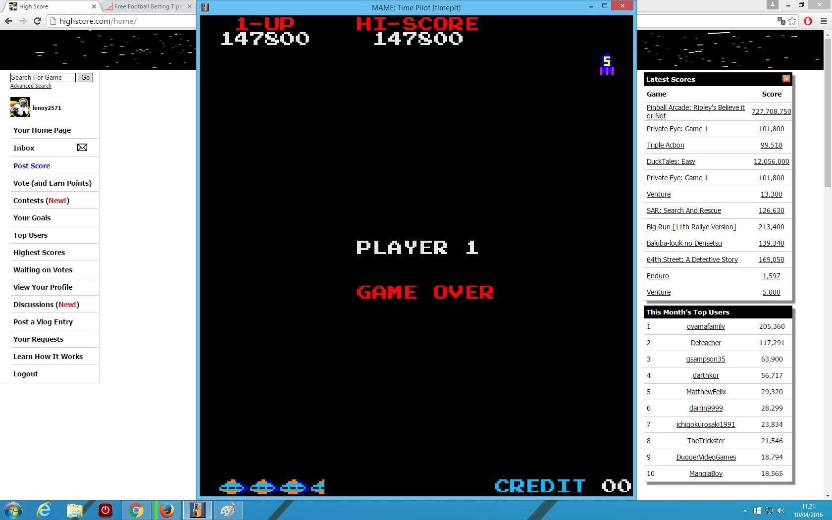 lenny2571: Time Pilot (Arcade Emulated / M.A.M.E.) 147,800 points on 2016-04-10 04:27:09