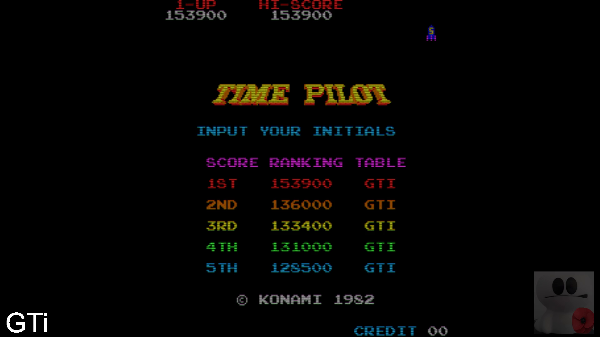 GTibel: Time Pilot (Arcade Emulated / M.A.M.E.) 153,900 points on 2020-06-14 03:34:23