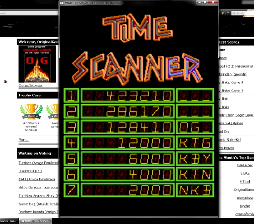 OriginalGamer: Time Scanner [timescan] (Arcade Emulated / M.A.M.E.) 423,210 points on 2015-07-23 15:27:26