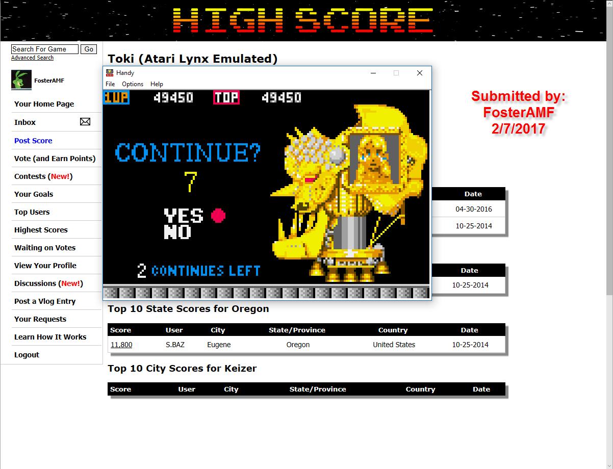 FosterAMF: Toki (Atari Lynx Emulated) 49,450 points on 2017-02-08 02:07:38