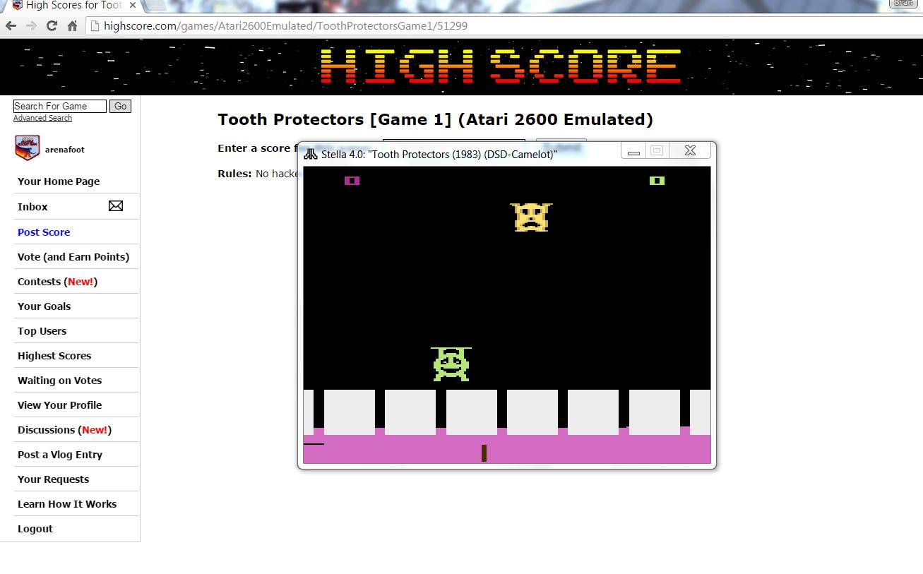 arenafoot: Tooth Protectors [Game 1] (Atari 2600 Emulated) 39,800 points on 2016-06-14 01:45:24