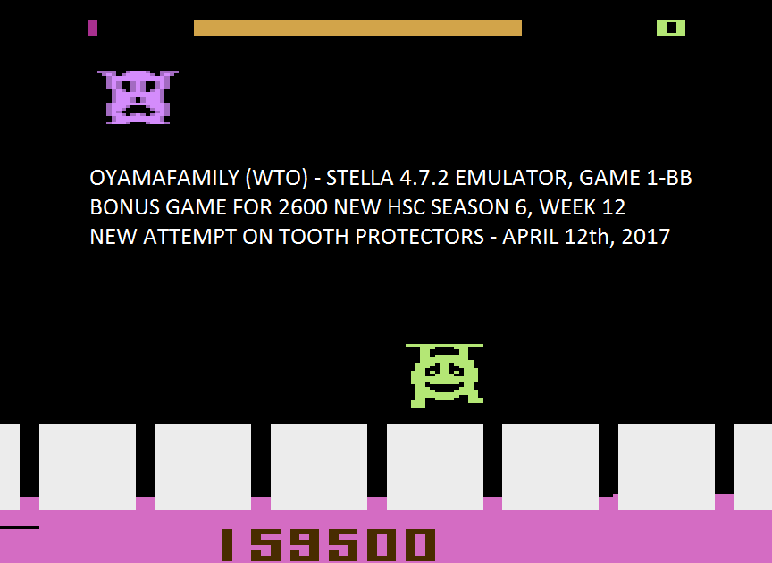 oyamafamily: Tooth Protectors [Game 1] (Atari 2600 Emulated) 159,500 points on 2017-04-17 18:54:09