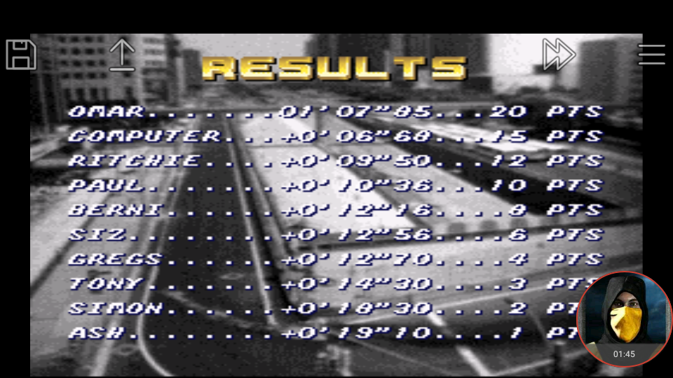 omargeddon: Top Gear [Track 1: Las Vegas/Amateur Difficulty/No Nitro] (SNES/Super Famicom Emulated) 0:01:07.85 points on 2018-01-18 17:44:16