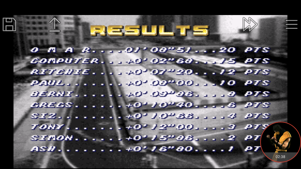 omargeddon: Top Gear [Track 1: Las Vegas/Pro Difficulty/Nitro Allowed] (SNES/Super Famicom Emulated) 0:01:08.51 points on 2018-01-05 23:03:03