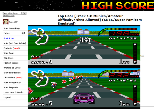 FosterAMF: Top Gear [Track 13: Munich/Amateur Difficulty/Nitro Allowed] (SNES/Super Famicom Emulated) 0:04:41.25 points on 2015-06-17 16:18:42