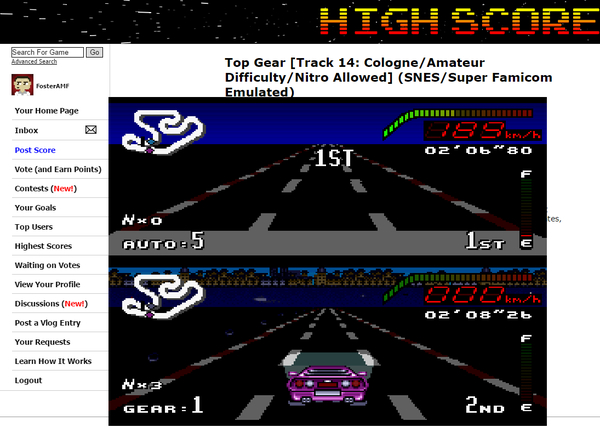 FosterAMF: Top Gear [Track 14: Cologne/Amateur Difficulty/Nitro Allowed] (SNES/Super Famicom Emulated) 0:02:06.8 points on 2015-06-17 16:53:53