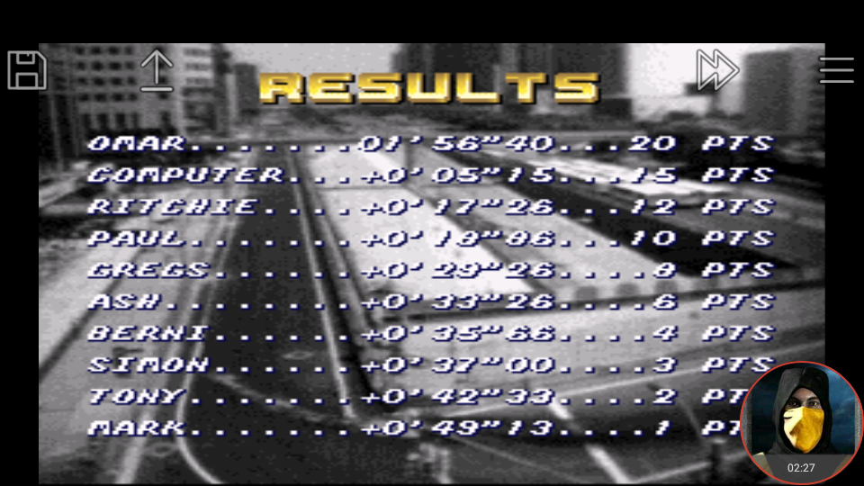 omargeddon: Top Gear [Track 2: Los Angeles/Amateur Difficulty/No Nitro] (SNES/Super Famicom Emulated) 0:01:56.4 points on 2018-01-18 18:01:54