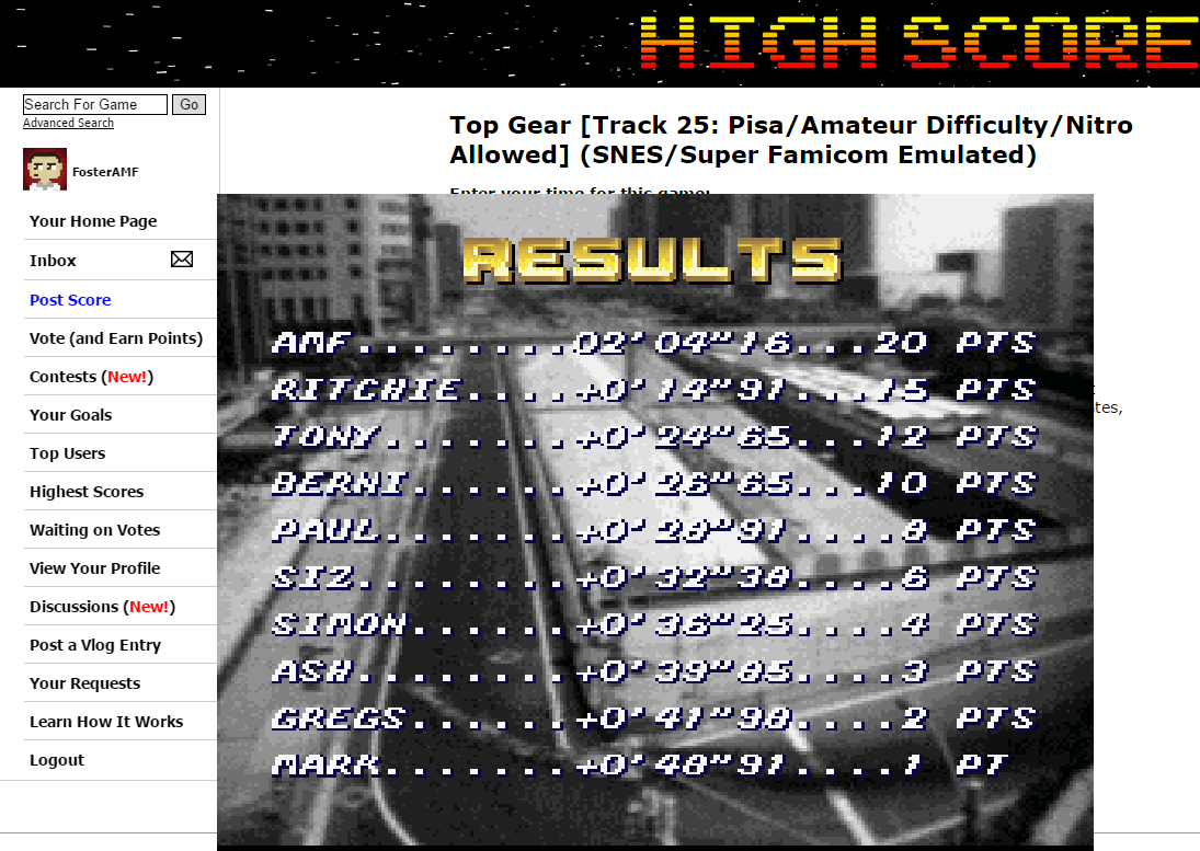 FosterAMF: Top Gear [Track 25: Pisa/Amateur Difficulty/Nitro Allowed] (SNES/Super Famicom Emulated) 0:02:04.16 points on 2015-06-28 00:33:50
