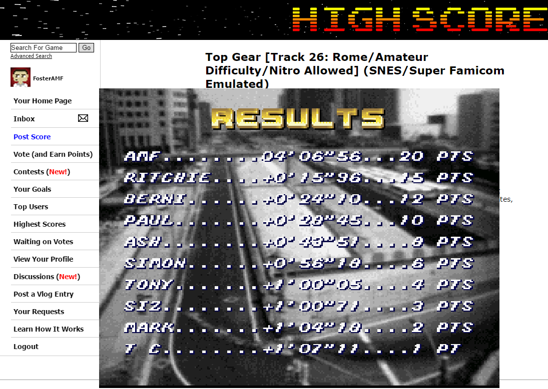 FosterAMF: Top Gear [Track 26: Rome/Amateur Difficulty/Nitro Allowed] (SNES/Super Famicom Emulated) 0:04:06.56 points on 2015-06-28 00:51:43