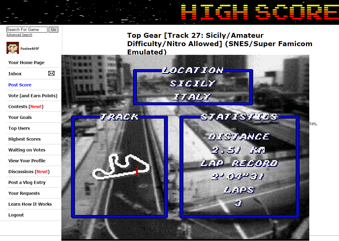 FosterAMF: Top Gear [Track 27: Sicily/Amateur Difficulty/Nitro Allowed] (SNES/Super Famicom Emulated) 0:02:01.83 points on 2015-06-28 01:01:48