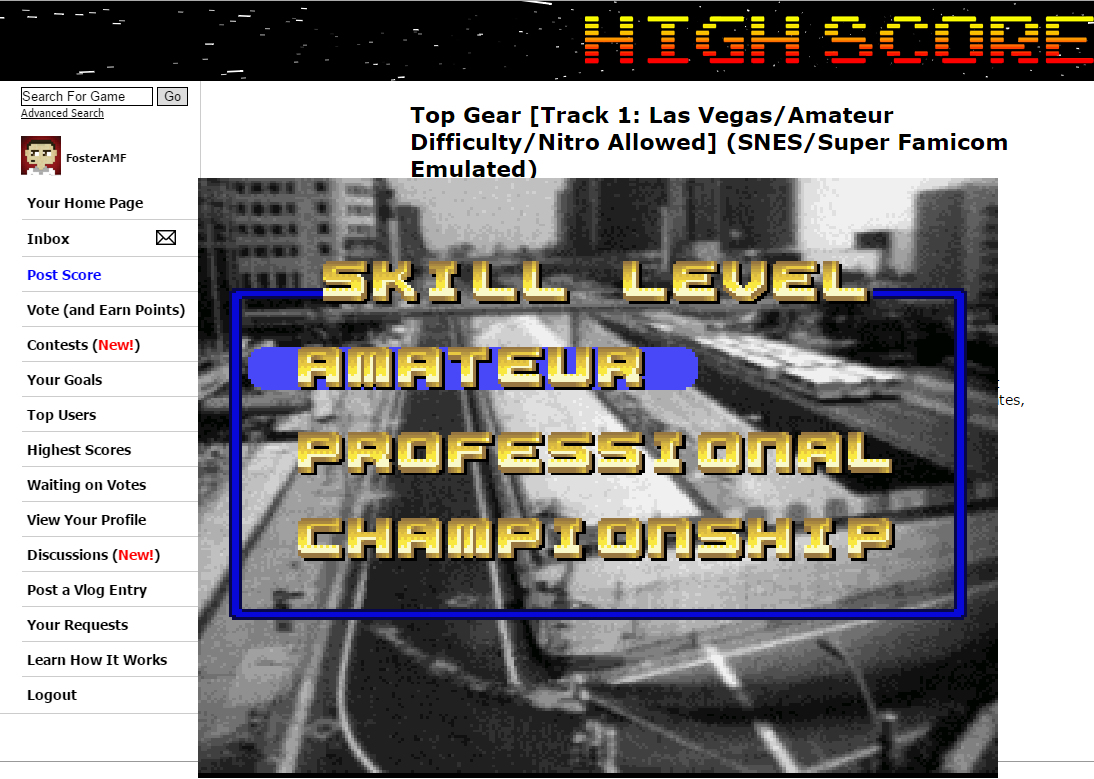 FosterAMF: Top Gear [Track 30: Sheffield/Amateur Difficulty/Nitro Allowed] (SNES/Super Famicom Emulated) 0:01:36.51 points on 2015-07-01 01:43:05