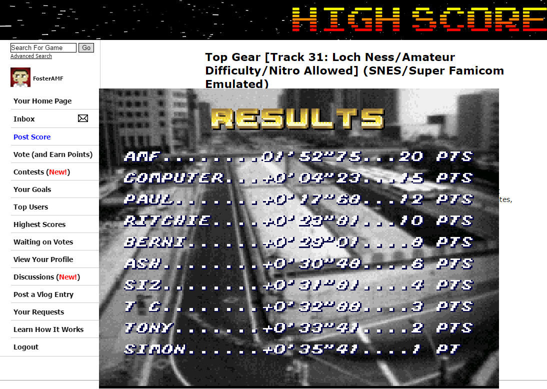 FosterAMF: Top Gear [Track 31: Loch Ness/Amateur Difficulty/Nitro Allowed] (SNES/Super Famicom Emulated) 0:01:52.75 points on 2015-07-01 01:52:00