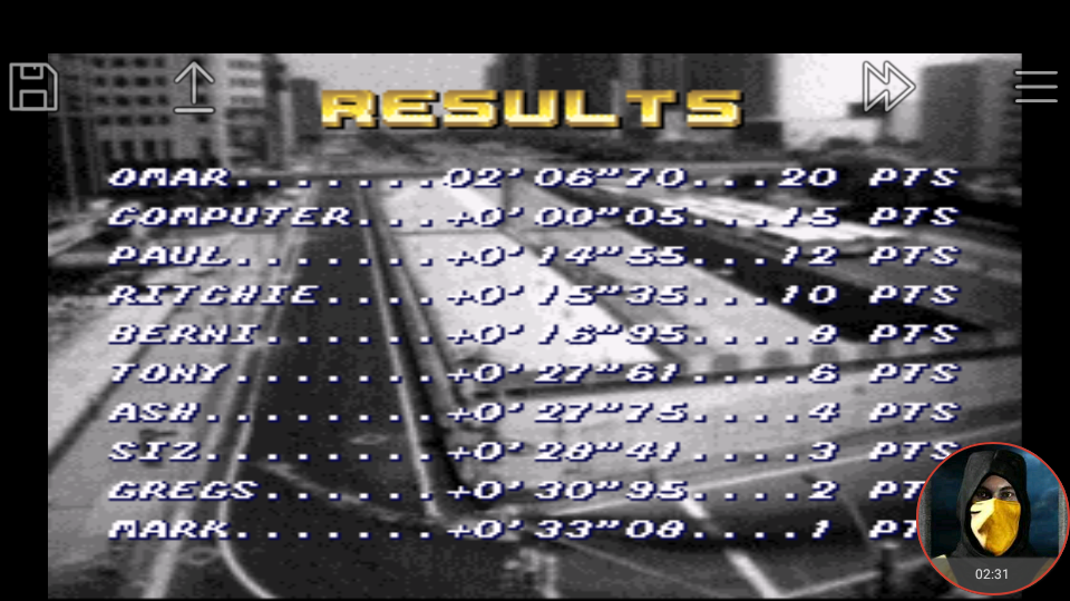 omargeddon: Top Gear [Track 6: Machu Picchu/Amateur Difficulty/No Nitro] (SNES/Super Famicom Emulated) 0:02:06.7 points on 2018-01-18 20:50:53