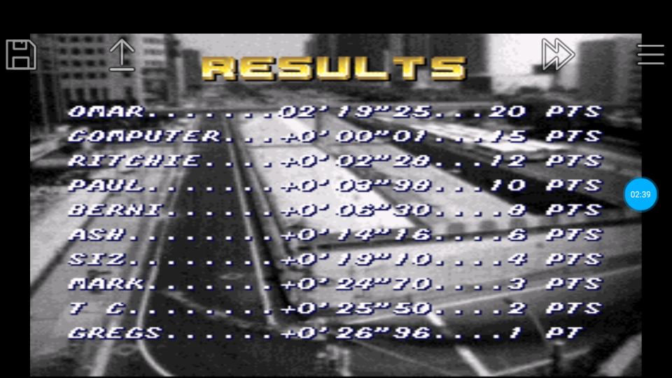 omargeddon: Top Gear [Track 8: Rain Forest/Amateur Difficulty/Nitro Allowed] (SNES/Super Famicom Emulated) 0:02:19.25 points on 2018-06-27 00:13:32