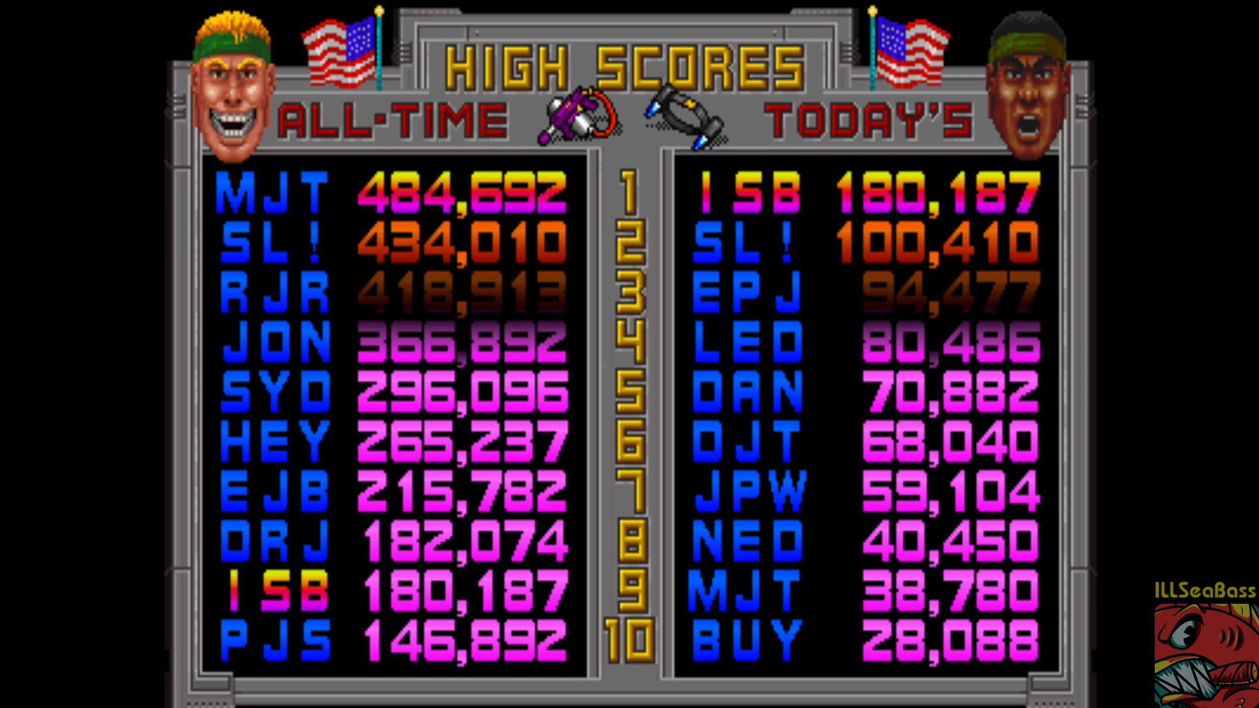 ILLSeaBass: Total Carnage (Arcade Emulated / M.A.M.E.) 180,187 points on 2018-04-01 19:24:40