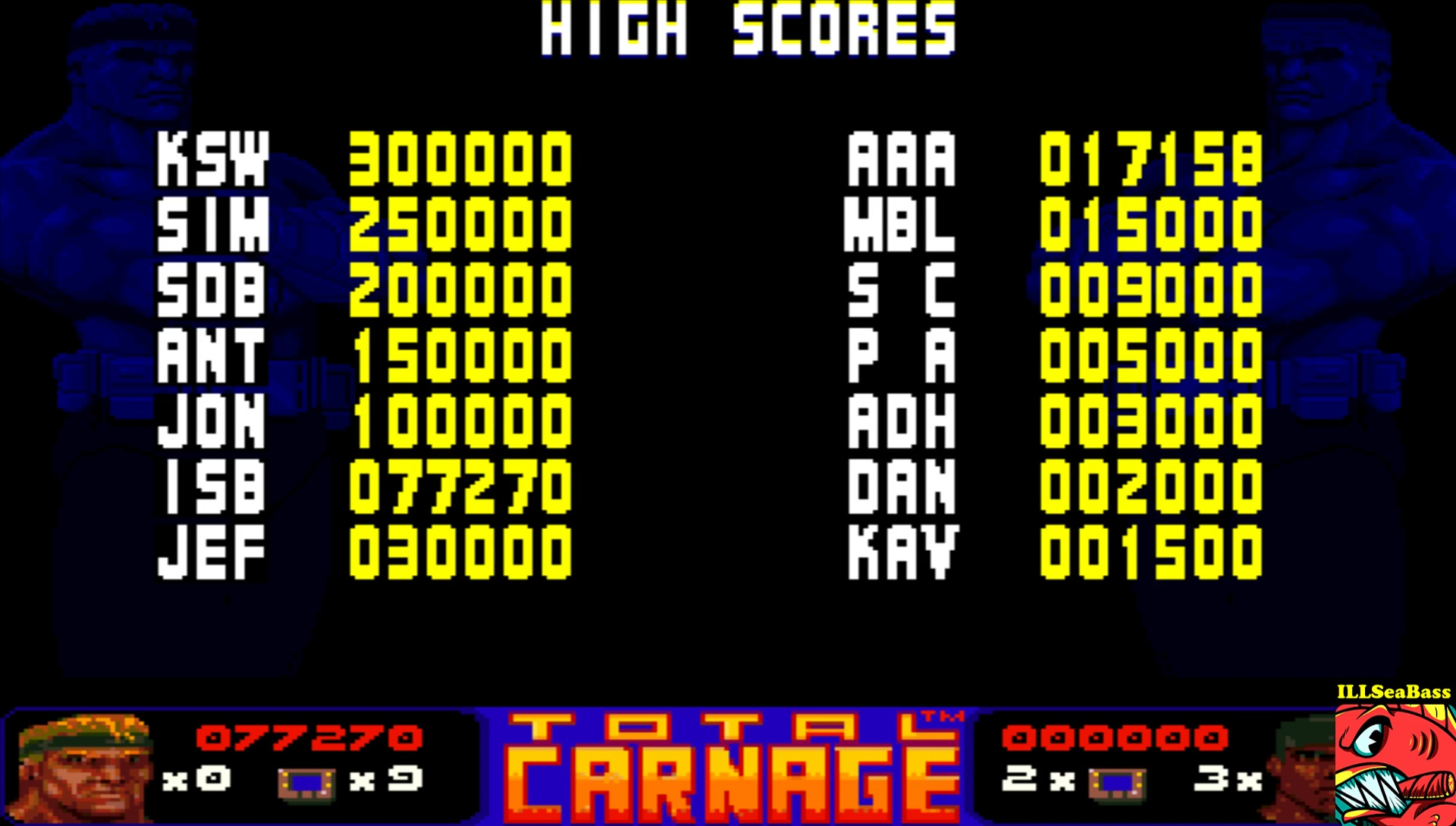 ILLSeaBass: Total Carnage [Easy] (Amiga Emulated) 77,270 points on 2017-05-28 23:24:11