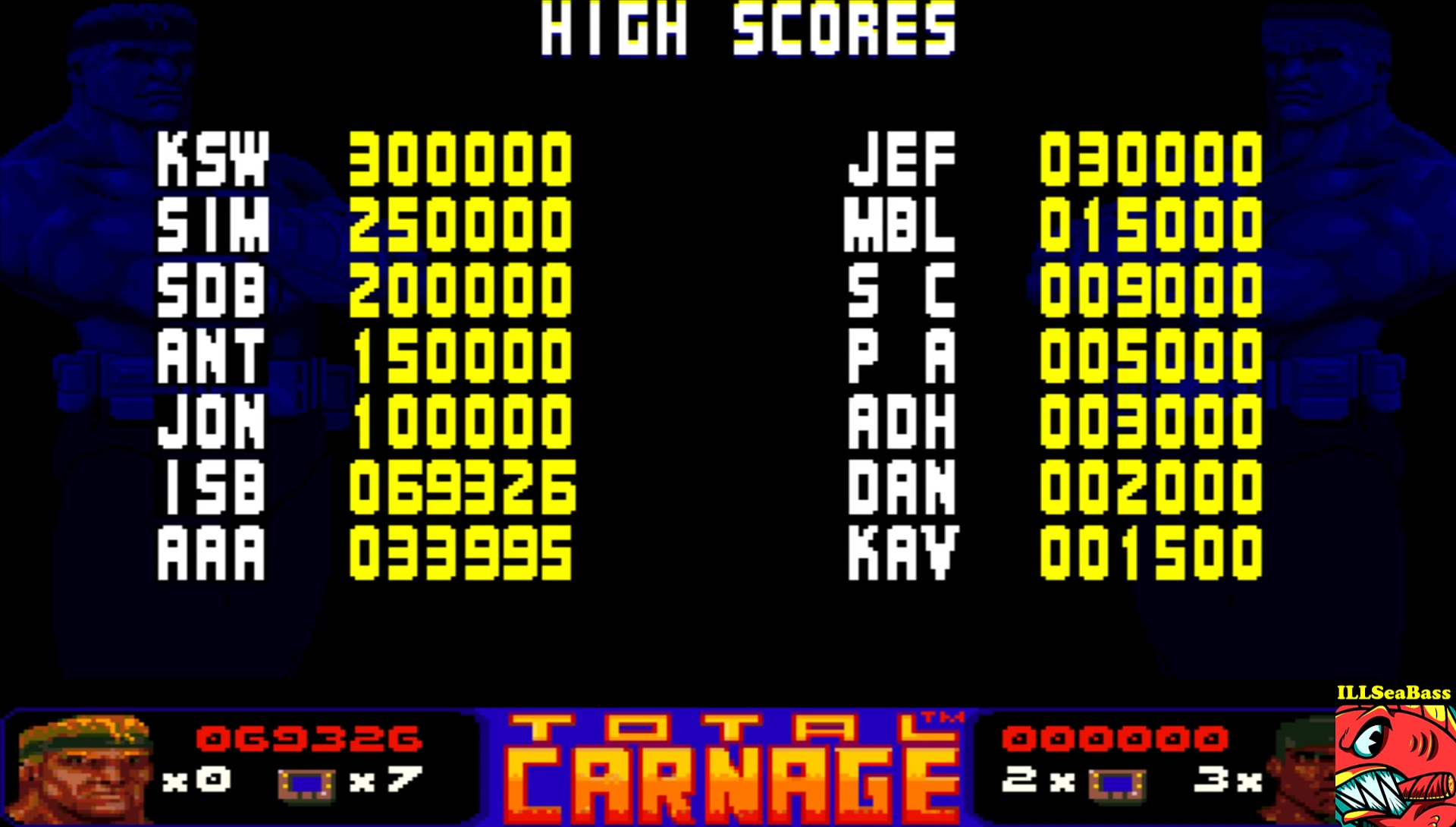 ILLSeaBass: Total Carnage [Hard] (Amiga Emulated) 69,326 points on 2017-05-29 00:08:49