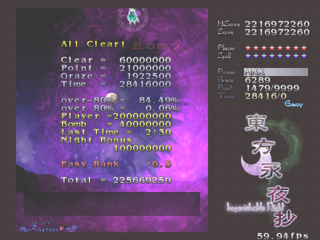 STS: Touhou 9 the Imperishable Night [easy difficulty, below 3% slowdown, 2 lives start] (PC) 2,216,972,260 points on 2017-04-21 05:20:33