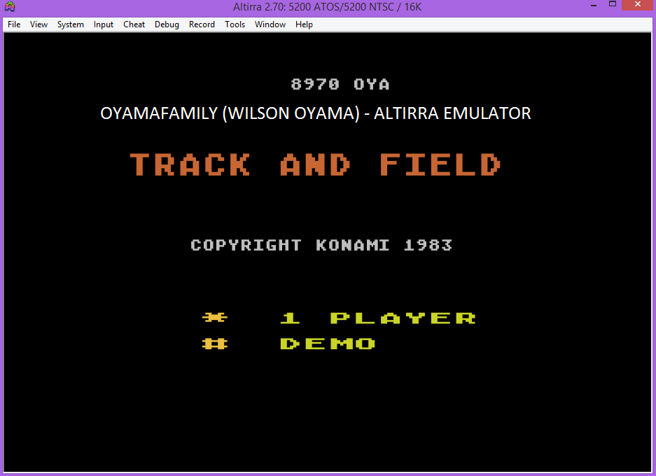 oyamafamily: Track & Field (Atari 5200 Emulated) 8,970 points on 2017-04-21 12:43:35