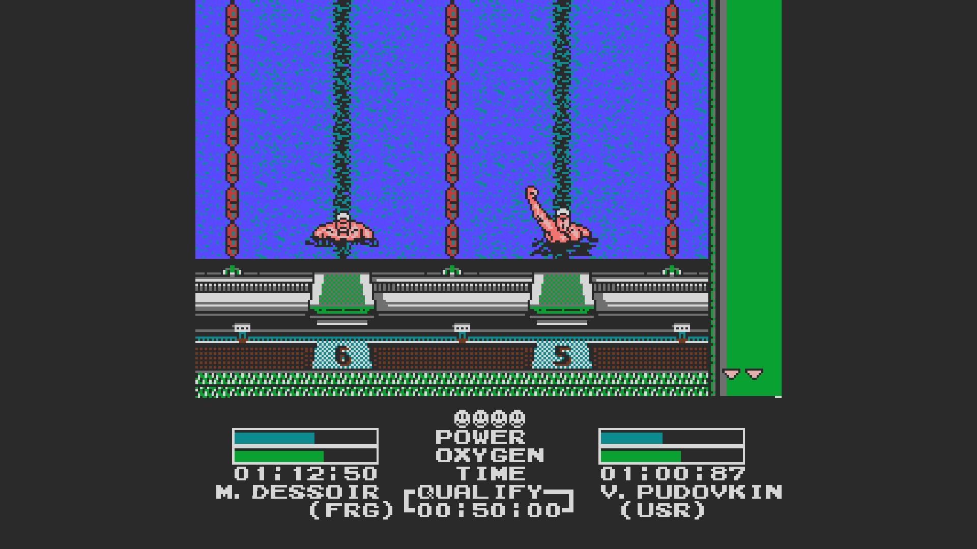 AkinNahtanoj: Track & Field II - Swimming [Olympic Mode] (NES/Famicom Emulated) 0:01:12.5 points on 2020-10-16 03:12:52