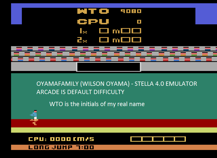 oyamafamily: Track and Field (Atari 2600 Emulated Novice/B Mode) 9,080 points on 2016-01-02 04:04:23