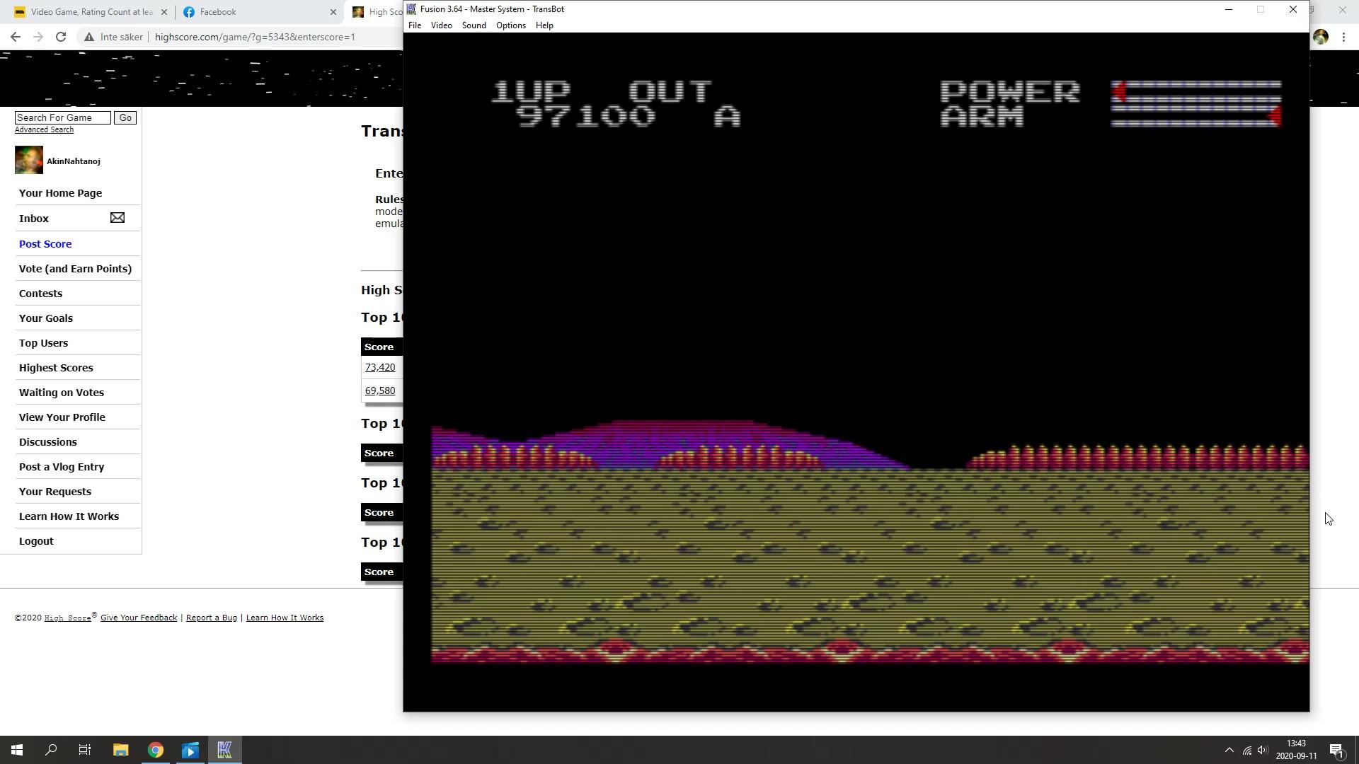 AkinNahtanoj: Transbot (Sega Master System Emulated) 97,100 points on 2020-09-11 08:53:21