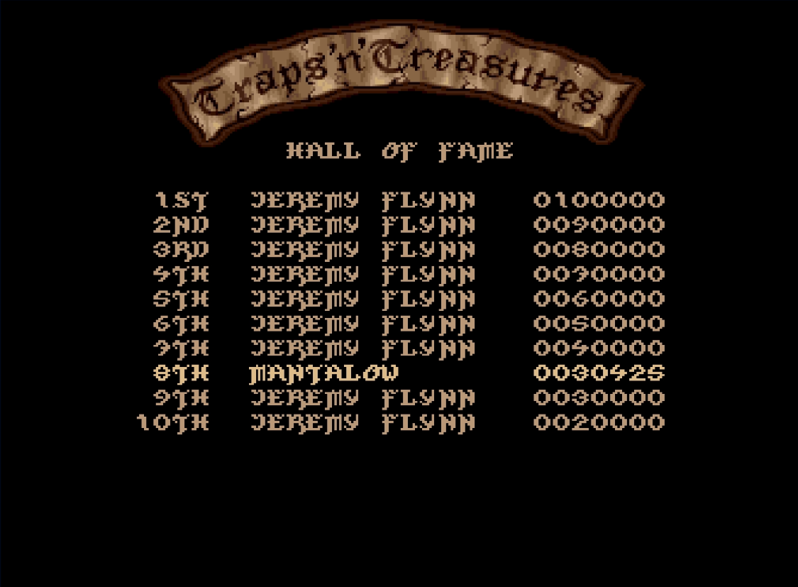 Mantalow: Traps 'n' Treasures (Amiga Emulated) 30,425 points on 2018-02-15 11:52:34