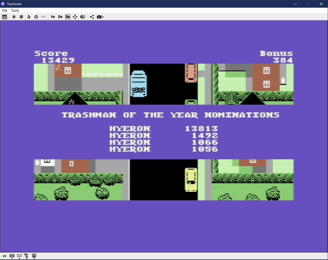 Hyeron: Trashman [New Generation] (Commodore 64 Emulated) 13,813 points on 2019-06-07 15:41:08