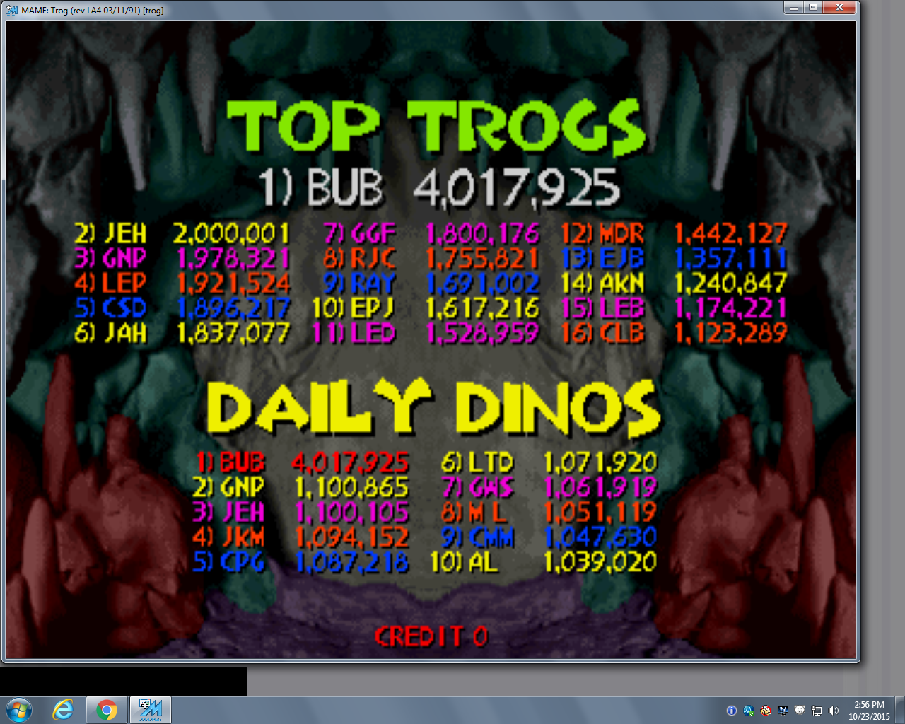 bubufubu: Trog (Arcade Emulated / M.A.M.E.) 4,017,925 points on 2015-10-23 17:27:17