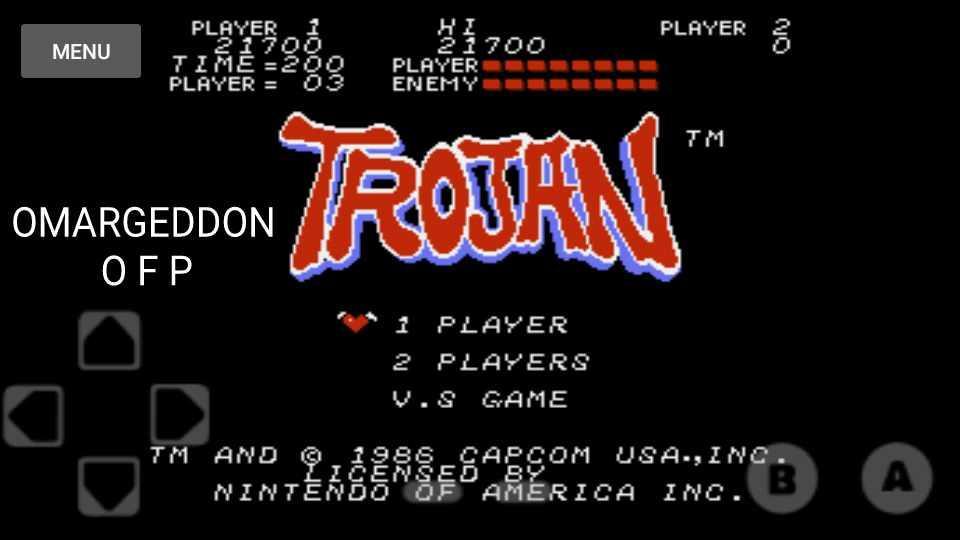 omargeddon: Trojan (NES/Famicom Emulated) 21,700 points on 2016-11-29 00:04:24
