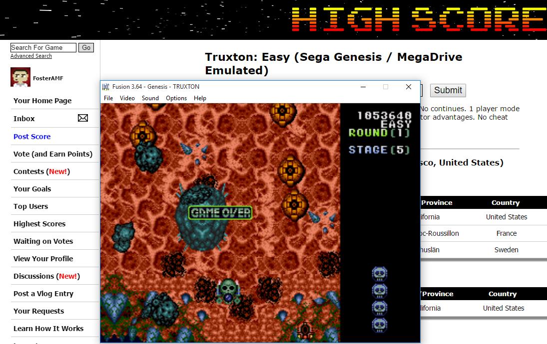 FosterAMF: Truxton: Easy (Sega Genesis / MegaDrive Emulated) 1,053,640 points on 2015-12-11 17:20:14